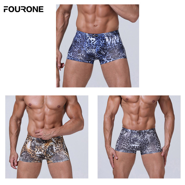 4dd55f504 US $10.64 |Brand new 3 PCS/lot Men's Underwear Ice silk leopard tiger  stripe Boxer Medium waist Underpants Shorts-in Boxers from Underwear & ...