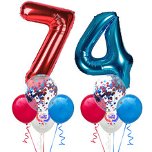 Number 74 Balloons American Flag Patriotic Balloon Set Star Independence Day Red Blue Sequin M18
