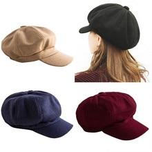 Women Autumn Winter Wool Blend Beret Octagonal Cap Fashion E
