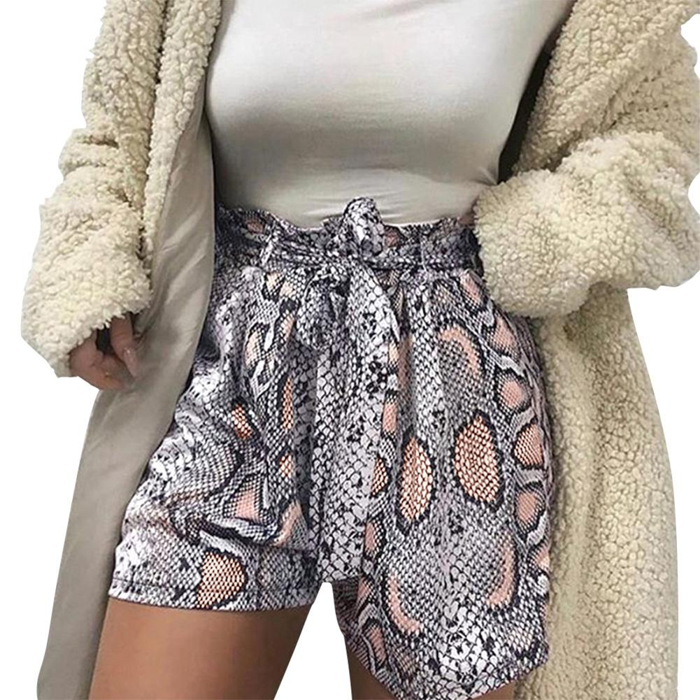 Women print summer shorts casual loose femme blusas shorts high waist sashes feminino loose drawstring shorts(China)
