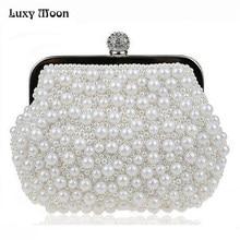 176b60fa527 Pearls Clutch Bag White Evening Bags Wedding Bride Purse Chains Women  Handbag Beaded Party Purse Dress Day Clutch