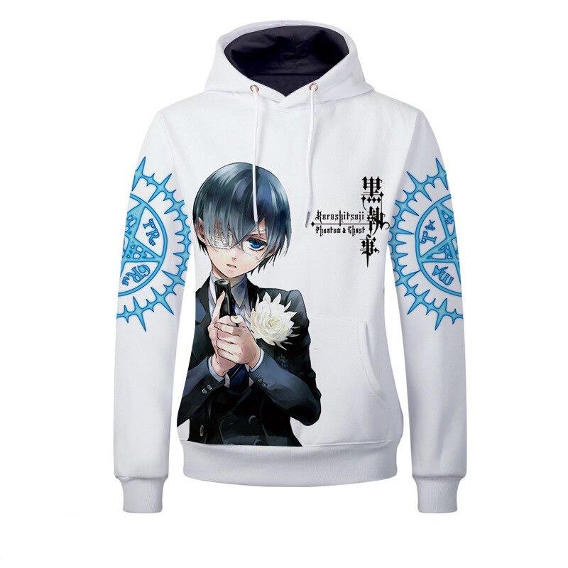 Kuroshitsuji Black Butler Ciel Phantomhive Hoodies 3D Printed Pullover Sweatshirt Jackets Casual Outfit Coat Tops
