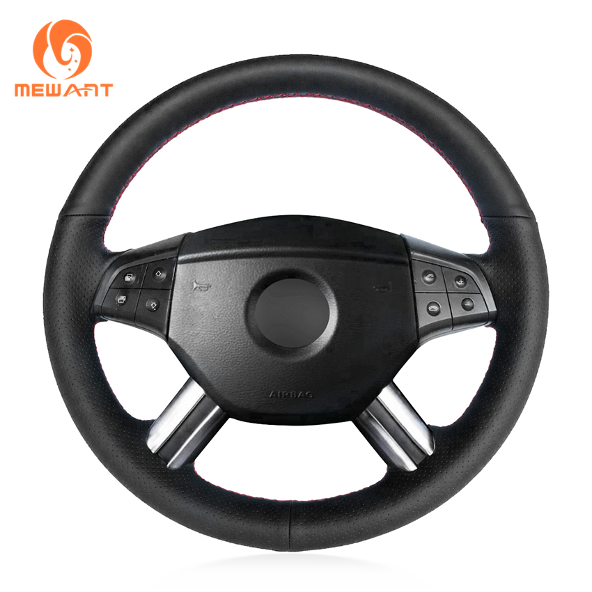 MEWANT Black Genuine Leather Steering Wheel Cover for Mercedes Benz W164 M-Class ML350 ML500 2005 2006 X164 GL-Class GL450 коврики в салон mercedes benz m class w164 2006