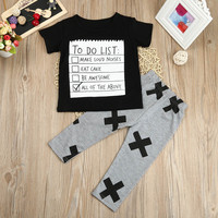 MUQGEW NewBrow Kids Boys Clothing Set Summer Casual Style Toddler Infant Baby Boys Letter T shirt Tops Pants Outfits Clothes Set