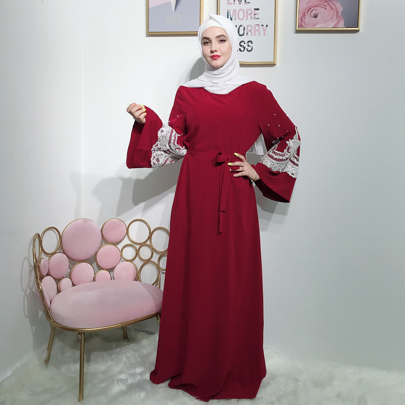 Red Lace Abaya Dubai Muslim Hijab Dress Abayas For Women Jilbab Kaftan Caftan Islamic Clothing Turkish Dresses Robe Femme Elbise