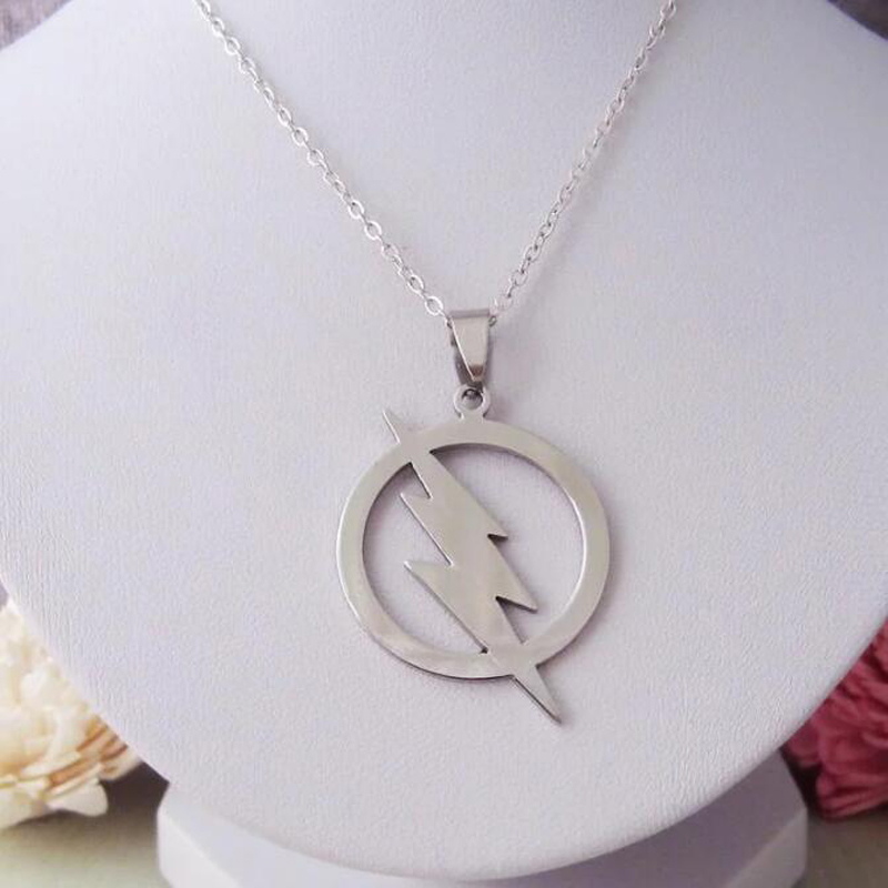 The Flash Inspired Symbol Necklace Stainless Steel Lightning Bolt Pendant Whlesale Lots Bulk Steampunk Movie Jewelry for Men image