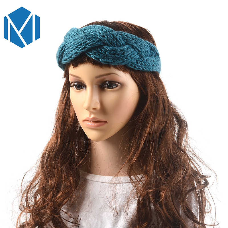 MISM Solid Women Girls Twist Knitted Woolen Turban Winter Warm Headband Headwraps Fall Cross Hair Band Headwear Lady Hairlace