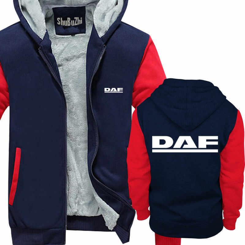 Мужская зимняя теплая толстовка с капюшоном плотное флисовое пальто DAF Trucks man повседневные брендовые Cпортивные костюмы толстовки евро размер