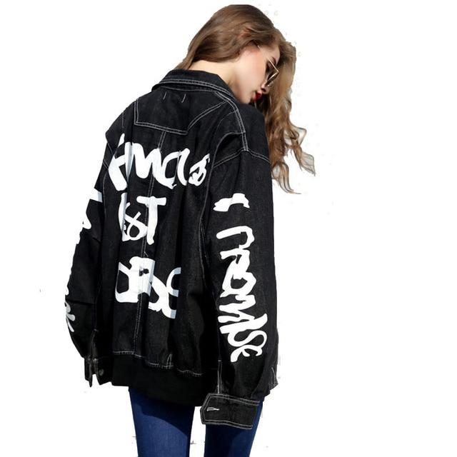 מכתב מודפס גרפיטי 2018 Harajuku Loose ינס Streetwear שחור מפציץ מעיל BF רקמת נשים של מעיל רוח
