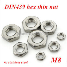 100pcs M8 Hex nut DIN439 A2-70 Stainless Steel Hex Thin Nuts Metric Fastener M3-M14 Stocks