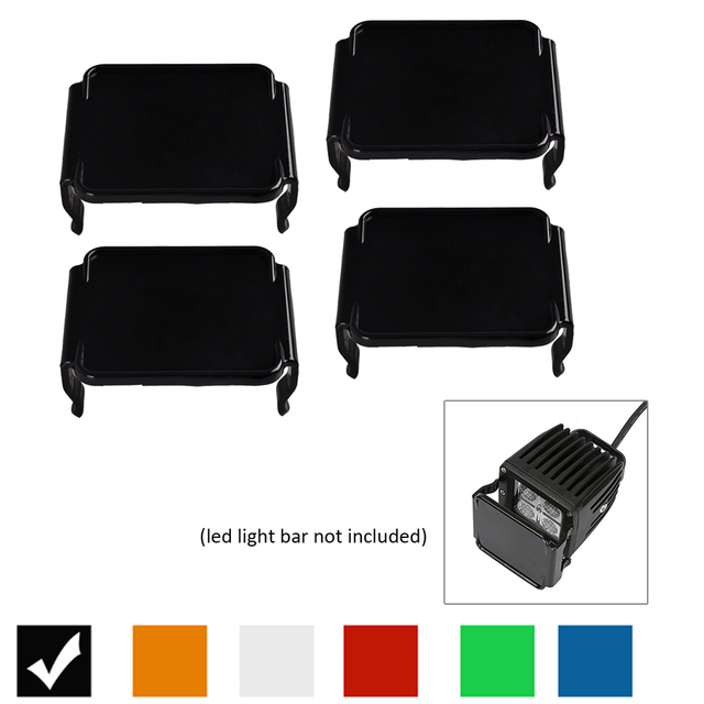 """4PCS Protector Dust Proof Cover Amber Black Red Green Blue Clear for 3x3"""" inch 12W 18W 24W Square Cube Pods LED Work Light Bar"""