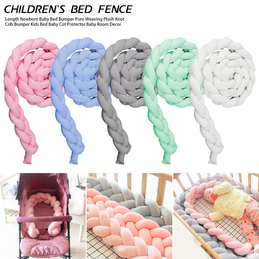 Knot Soft Baby Bed Bumper Crib Sides Newborn Crib Pad Protection Cot Bumpers Bedding For Infant