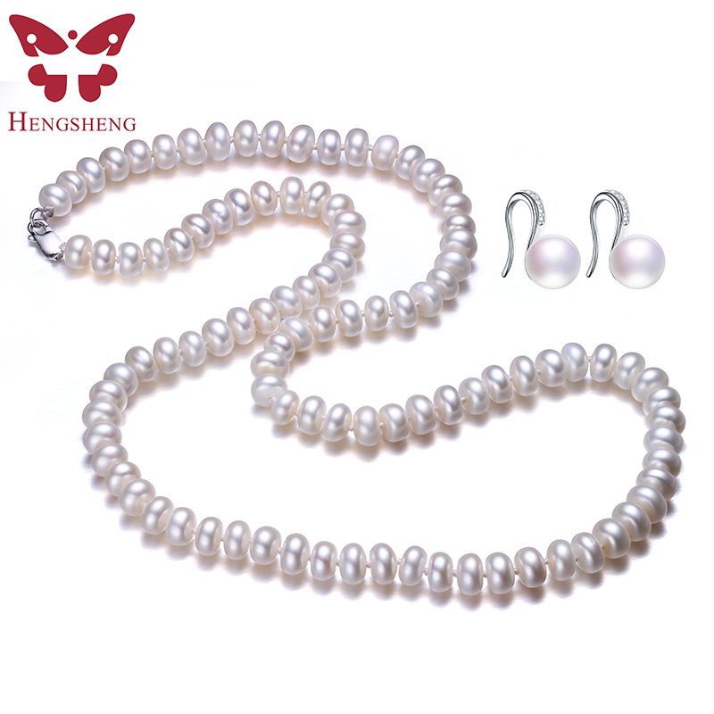 Natural Freshwater Pearl Jewelry Set For Women,Pearl Jewelry Necklace&Earrings,60cm Length,Fashion Jewelry,925 Sterling Silver