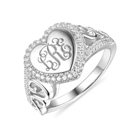 Wholesale Lady MO Jewelry Heart Shaped CZ's Monogram Ring For Mother's Day Gift In Sterling Silver