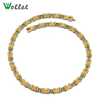 Wollet Jewelry Yellow Crystal Gold Color Germanium Infrared Magnetic Titanium Necklace for Women