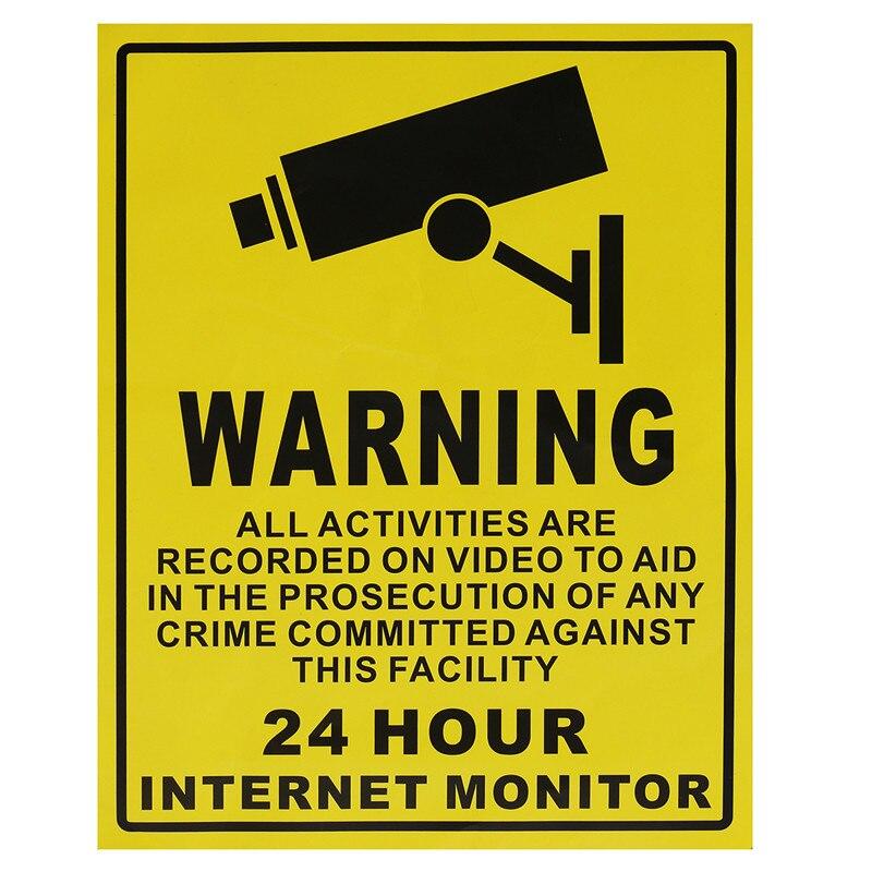 25 см * 20 см большой 24 часа surveiliance Предупреждение CCTV Камера Тип Наклейки на стену знаки Домашний Декор