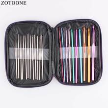 ZOTOONE 22PCS Colorful Crochet Hook Knitting Needles Set Aluminum Handle Knit Weave Yarn Diy Tools Craft C