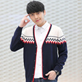 2016 Nova Moda Coreana Homens Cashmere Cardigan Camisola Dos Homens Casaco de Lã Estilo Casual de Manga Comprida Com Decote Em V Homem Blusas Cardigans