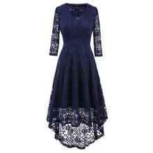 ФОТО vintage party lace tuxedo dresses v-neck three quarter sleeve asymmetrical party dress   ladies casual dresses