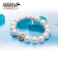 [Brand promotion] 11 12mm white shaped bright light freshwater big pearl bracelet, with S925 Silver Gold plated clasp bracelet