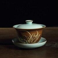 Chinese Longquan Celadon Gaiwan Carved Design Handmade Kungfu Cha Tea Set China Tea Cup 155ml Tea