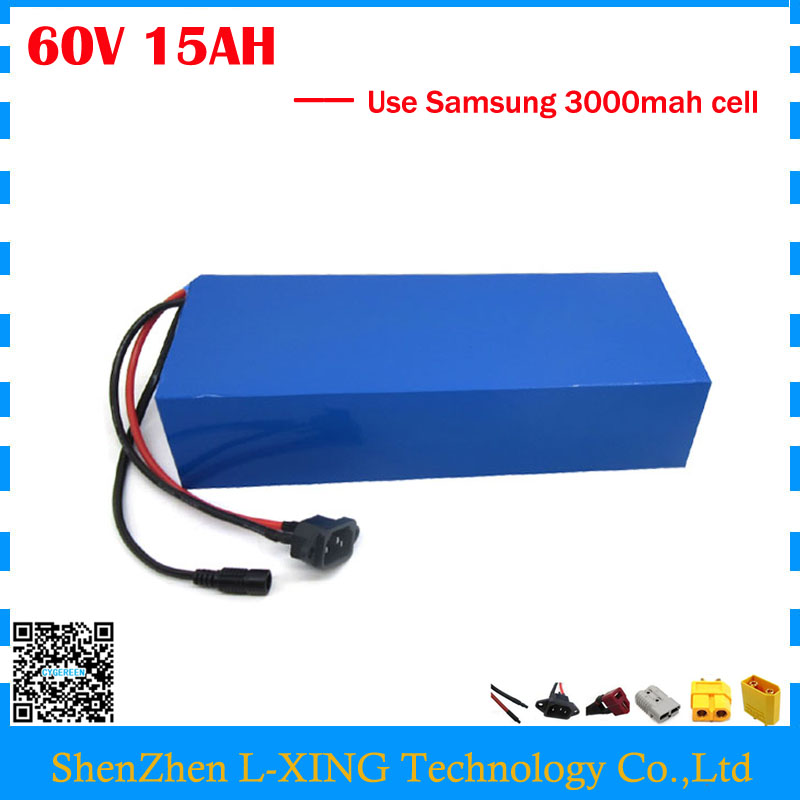 60 V Lithium battery 60V 15AH 900W electric bike battery 60V 15AH use Samsung 3000mah cell 15A BMS Free customs fee free customs taxes super power 1000w 48v li ion battery pack with 30a bms 48v 15ah lithium battery pack for panasonic cell