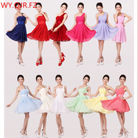 QNZL3320#Red green blue yellow chiffon short Bridesmaid Dresses wedding party prom dress 2018 summer new wholesale and Custom