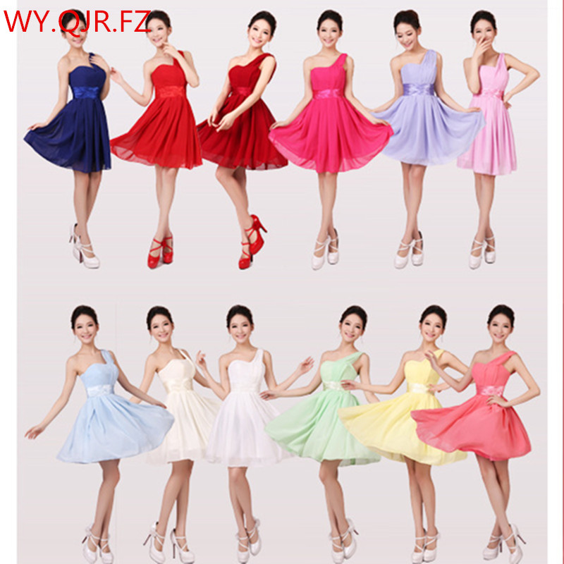 QNZL3320#Red green blue yellow chiffon short   Bridesmaid     Dresses   wedding party prom   dress   girl 2019 summer new wholesale Custom