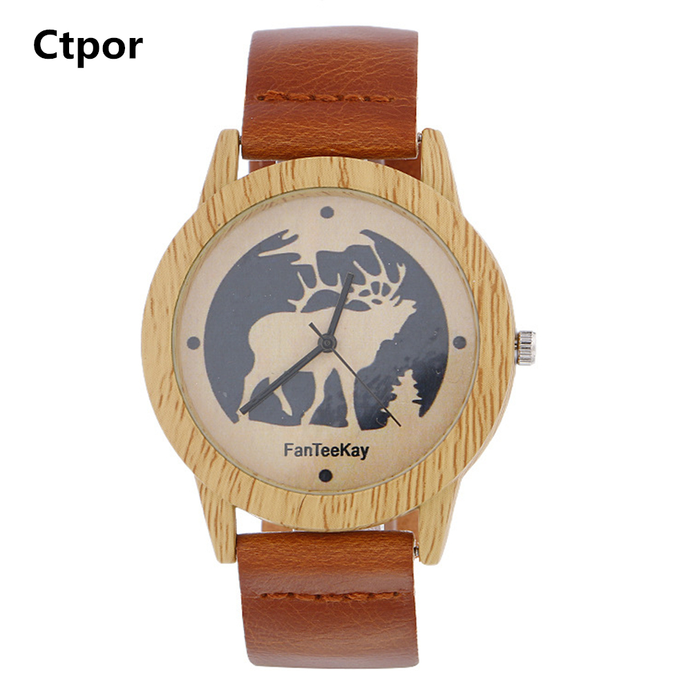 Santa Claus Deer Watches Wood Texture Clock Casual Men Wrist Watch Alloy Dial Leather Strap Relogio Holiday Gifts Young Men wall decor sending gifts santa claus patterned tapestry
