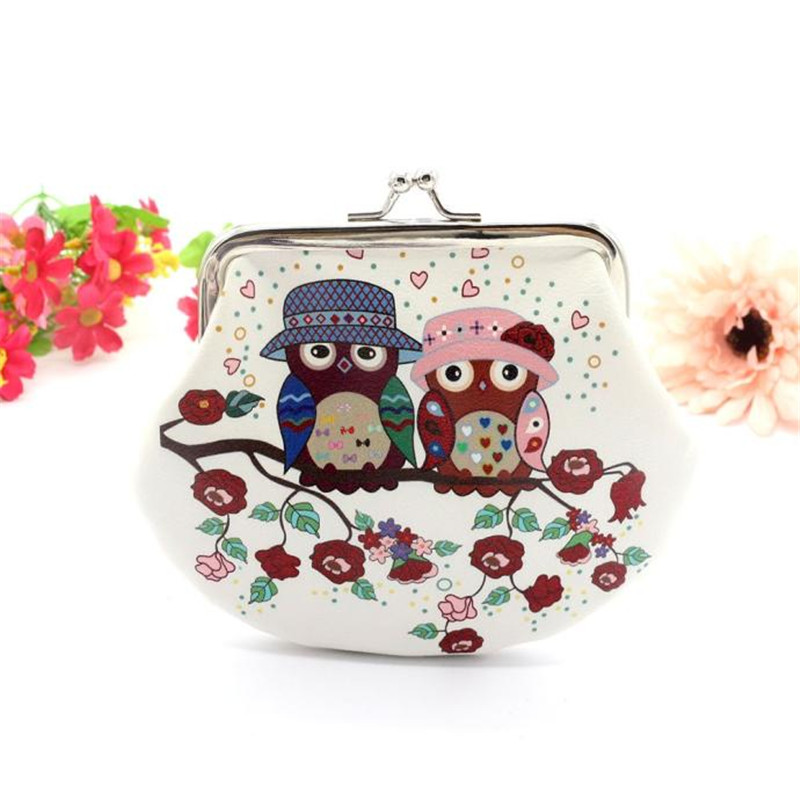 2018 Excellent Quality Retro Vintage Clutch Handbag Womens Fashion Owl Printing Leather Mini Coin Purse Wallets New Arrival