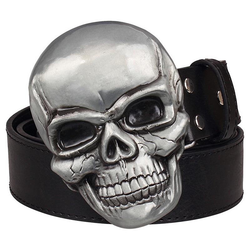 Goths wild style fashion men's belt big skull head metal buckle Smile skeleton head belt punk rock belts women jeans strap