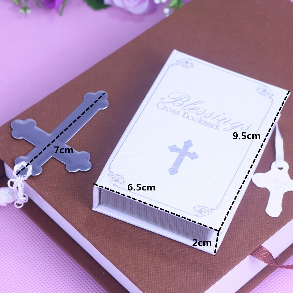 10 PCS Silver Cross Bookmark Wedding Favors Bridal boda Baby Shower First Communion Gifts Souvenirs Recuerdos Para Bautizo