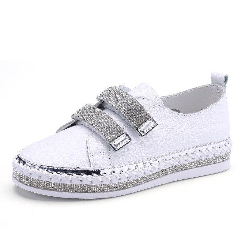 Yu Kube Crystal Genuine Leather sneakers Loafers Shoes 2020 HOOk&LOOP Woman platform Flats Ladies white Walking shoes 2