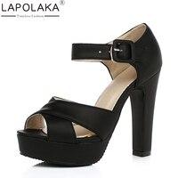 LAPOLAKA Hot Sale Brand Wholesale Dropship Large Size 32 47 Women Shoes Woman High Heels Summer