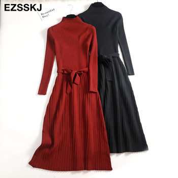 2019 autumn winter maxi sweater dress women long sleeve OL female long sweater dress with belt elegant a-line solid slim dress 1