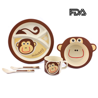 Toddler Kids Dinnerware Sets Plate Bowl Spoon Fork Cup Child Food Feeding Dishware Children Tableware Separate Food Container