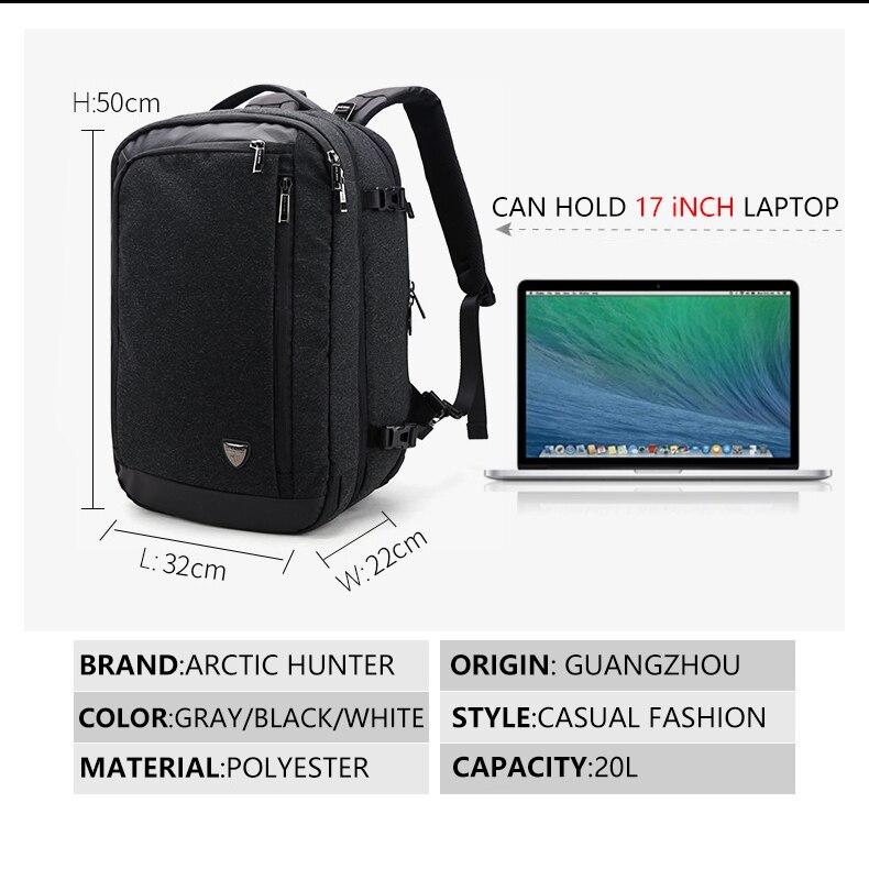 Большой емкости 17 дюймов рюкзак для ноутбука Многофункциональный водонепроницаемый мужской бизнес путешествия Back Pack черный мужской качественный компьютер сумки - 5
