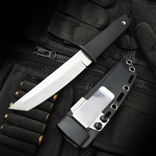 ZASSHU Cold Steel Hunting Fixed Blade Knife 440C Stainless Long Kraton Plastic Handle Outdoor Tactical ABS Sheath