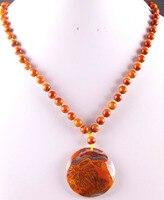 Новая мода 100% натуральный красный вен оникс бисер Цепочки и ожерелья Подвеска Бесплатная доставка Q002