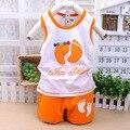 Estilo roupa dos miúdos meninos roupas de verão 4 cores 2/pcs bebê meninas roupas Pouco pés Unisex conjunto de roupas de bebê