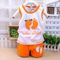 Summer style kids clothes boys clothes 4 colors 2/pcs baby girls clothes Little feet Unisex baby clothing set