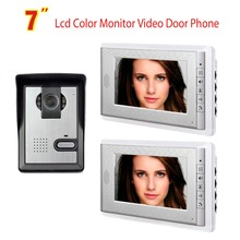 7 Inch Video Door Phone Doorbell Intercom System Night Vision Camera Video Door Bell Video Doorphone Intercom 2-Monitor Kit cheap AMOCAM Hands-free Wired CMOS Color 100V-240V Wall Mounting 700TVL Remote control V70C-L102 None Digital One to Two video doorphone