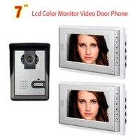 7 Inch Video Door Phone Doorbell Intercom System Night Vision Camera Video Door Bell Video Doorphone Intercom 2 Monitor Kit