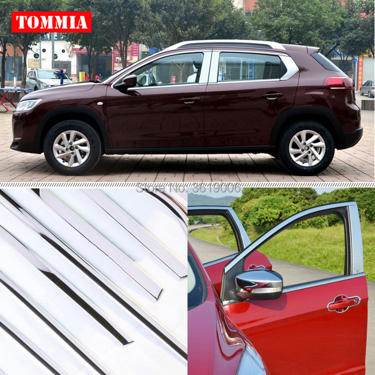 TOMMIA Full Window Middle Pillar Molding Sill Trim Chromium Styling Strips Stainless Steel For Citroen C3-XR 2014-2015