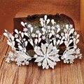 2016 Luxury rhinestone crystal flower headbands women elegant pearl headwear wedding bridal hair accessories crown tiaras ladies