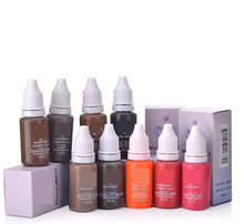 Купить с кэшбэком 10pcs Tattoo Ink Permanent Makeup Eyebrow Eyeliner Pigment Used For Manual Pen or Permanent Makeup Machine
