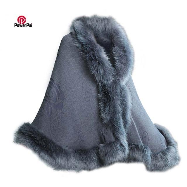 233d8fe376d77 Fashion Elegant Fox Fur Cape Coat Women Winter Knit Cashmere Cloak Shawl Big  Sexy Faux Fur Wraps Pashmina Party Dress 12 Colors