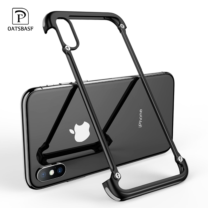 OATSBASF Metal Frame Shape With Airbag Shockproof Phone Case For Iphone XS XR Protective Bumper Back Cover With Gift Glass Film