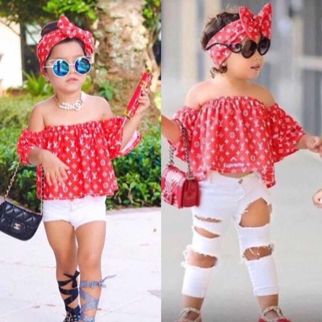 bfc3950b1284 Baby Girl Summer Clothes 2018 Children Clothing Set Fashion Girls Outfits  3Pcs Off Shoulder Tops Denim Pants Hairband Kids Suits