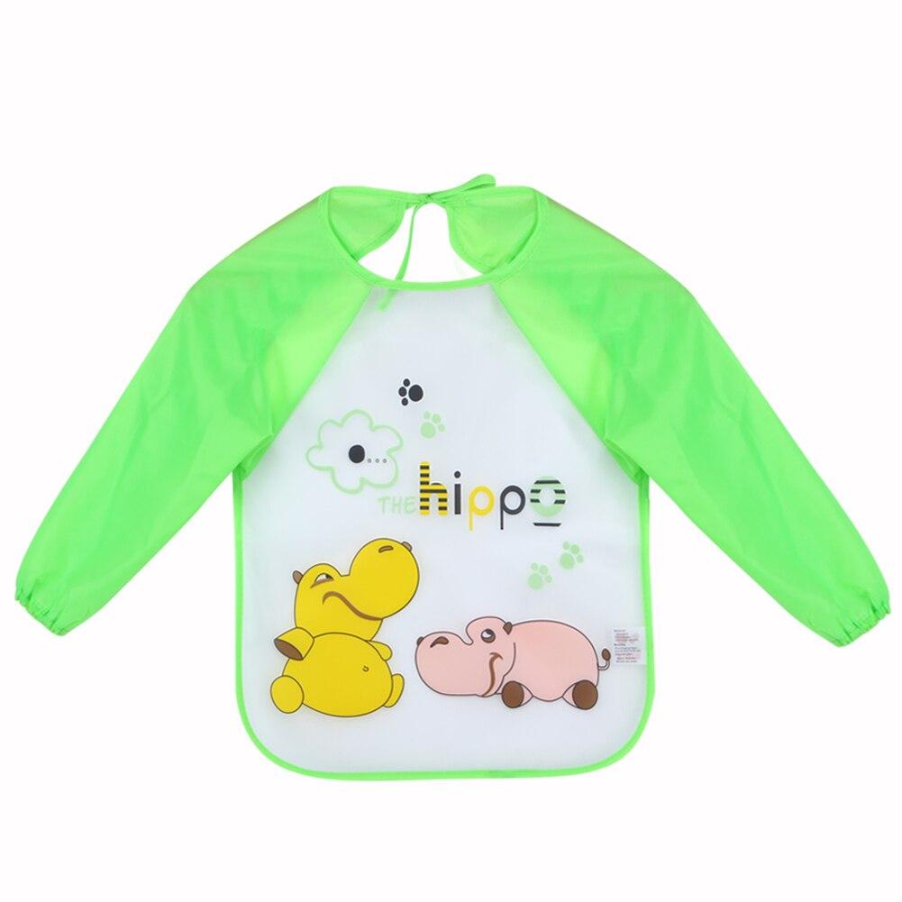 1 Uds. Baberos para bebé con estampado de dibujos animados de manga larga, impermeable, bufanda para Infante de bebé, accesorios de alimentación de bebé